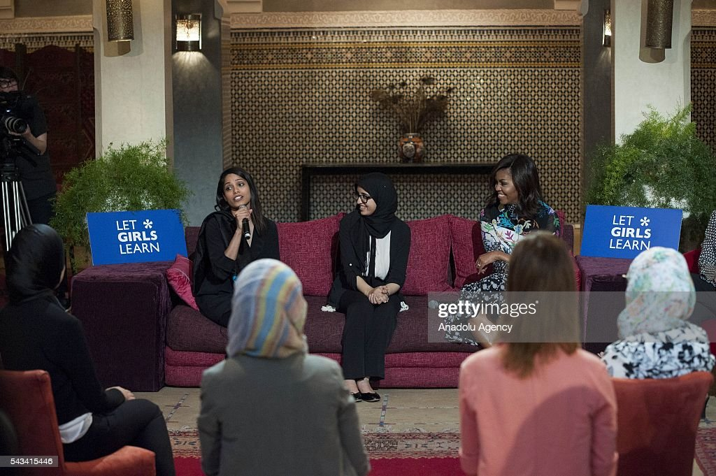 The US President Barrack Obama' s wife Michelle Obama (R), Hindu actress Freida Pinto (L) and Moroccan student Karima Lokos (C) attend a program held for girls whose education is interrupted in Marrakech, Morocco on June 28, 2016.