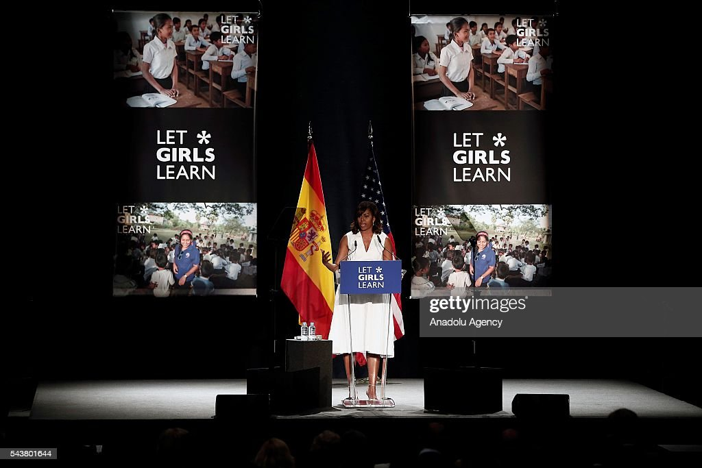 The US President Barrack Obama' s wife Michelle Obama makes presentation of a project named 'Let Girls Learn' at Matadero Education Center in Madrid, Spain on June 30, 2016.