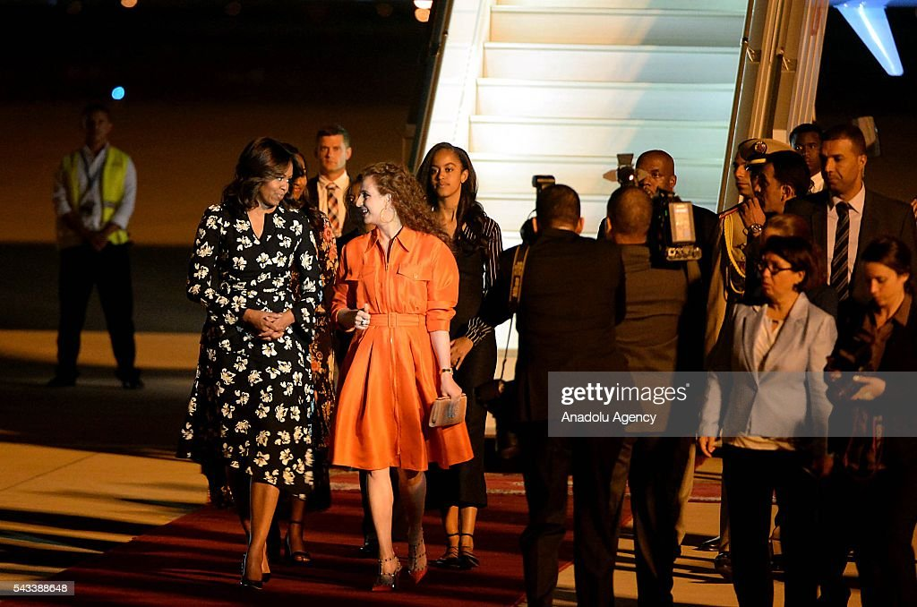 The US President Barrack Obama' s wife Michelle Obama (L) speaks with Princess Lalla Salma of Morocco (L 2) upon her arrival at the Menara Airport in Marrakech, Morocco on June 28, 2016. Michelle Obama arrived in Marrakech to promote the education of girls.