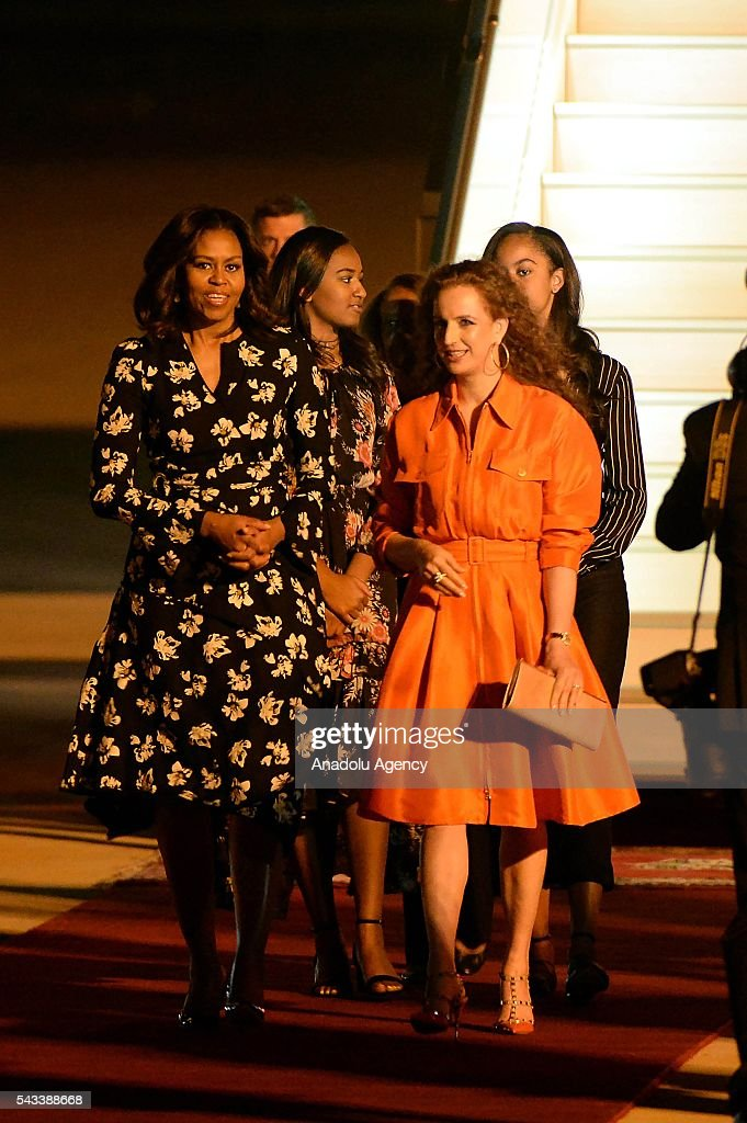 The US President Barrack Obama' s wife Michelle Obama (L) speaks with Princess Lalla Salma of Morocco (R) upon her arrival at the Menara Airport in Marrakech, Morocco on June 28, 2016. Michelle Obama arrived in Marrakech to promote the education of girls.
