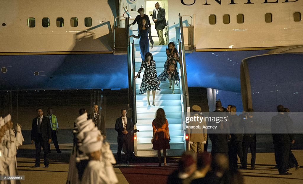 The US President Barrack Obama' s wife Michelle Obama steps out of a plane upon her arrival at the Menara Airport in Marrakech, Morocco on June 28, 2016. Michelle Obama arrived in Marrakech to promote the education of girls.