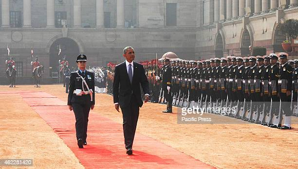 The US President Mr Barack Obama inspecting the Guard of Honour at the ceremonial reception at Rashtrapati Bhavan in New Delhi