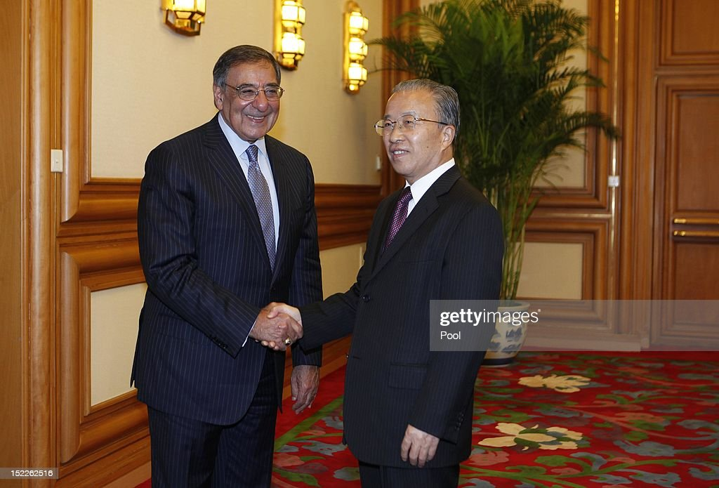 The U.S. Secretary of Defense Leon Panetta meets with China's State Councilor Dai Binguoin at Zhongnanhai on September 18, 2012 in Beijing, China. Panetta is on the first official stop of a three nation tour to Japan, China and New Zealand.