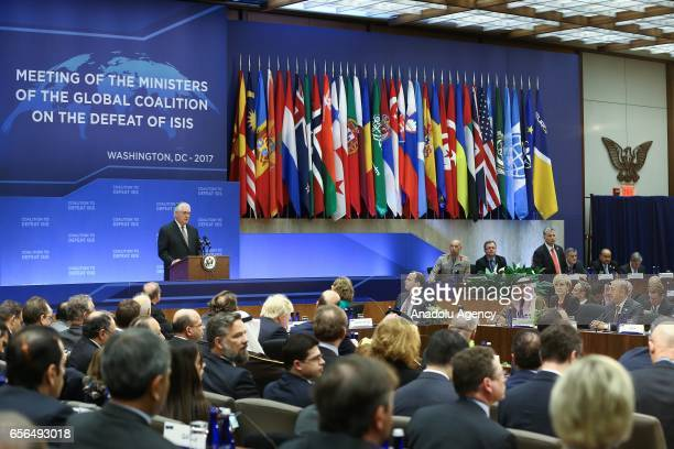The US Secretary of State Rex Tillerson makes an opening speech during the Ministers of the global coalition on the defeat of Daesh in Washington...