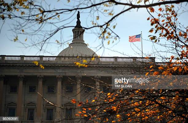 The US Senate members balcony on the North facade of the Capitol where the Senate will be in session tonight and all day tomorrow on November 20 2009...