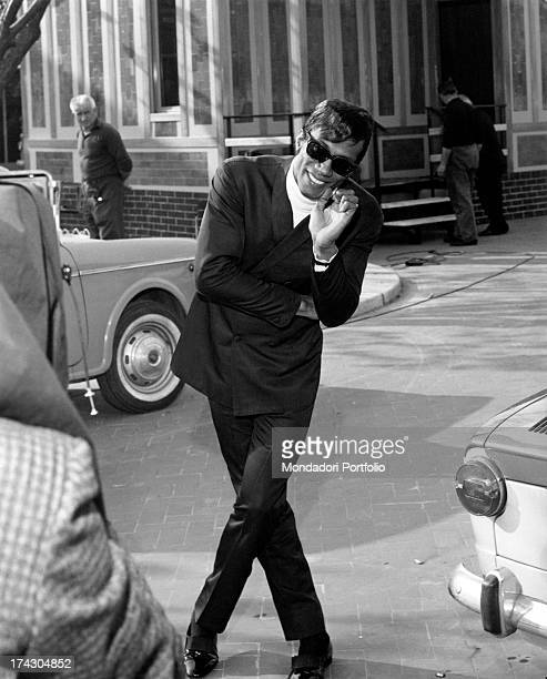 The US singer Rocky Roberts born Charles Roberts playfully poses on a street of Milan in Italy his career as a singer started thanks to Renzo Arbore...
