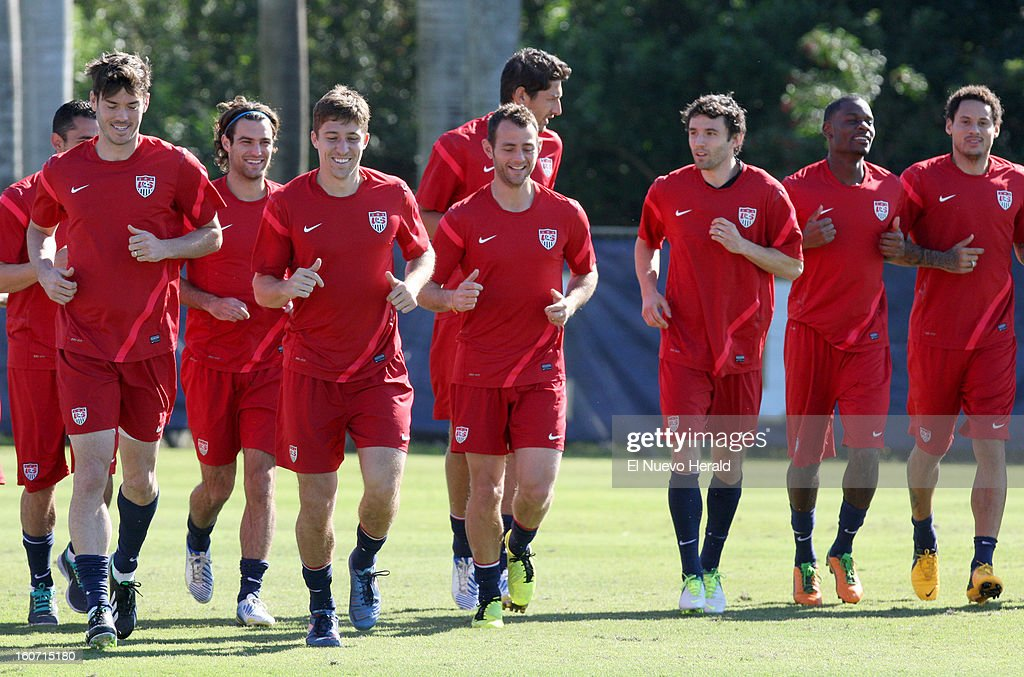 The U.S. soccer teams works out during practice at Florida International University in Miami, Florida, Monday, February 4, 2013.