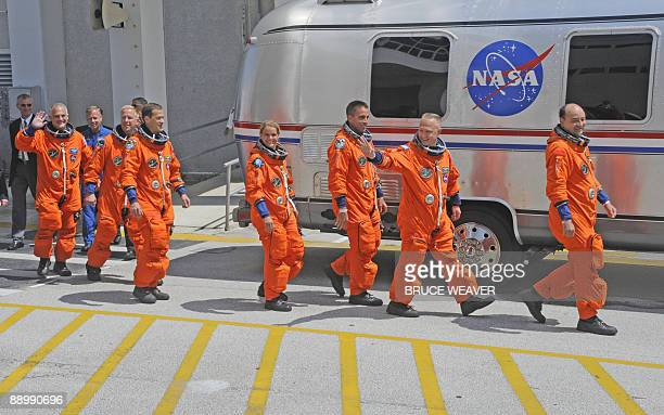The US space Shuttle Endeavour's crew US Dave Wolf US Tim Kopra US Tom Marshburn Canadian Julie Payette US Chris Cassidy Pilot US Doug Hurley and...