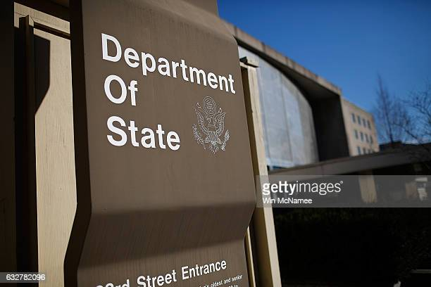 The US State Department is shown January 26 2017 in Washington DC Four senior management team members at the State Department resigned January 25...