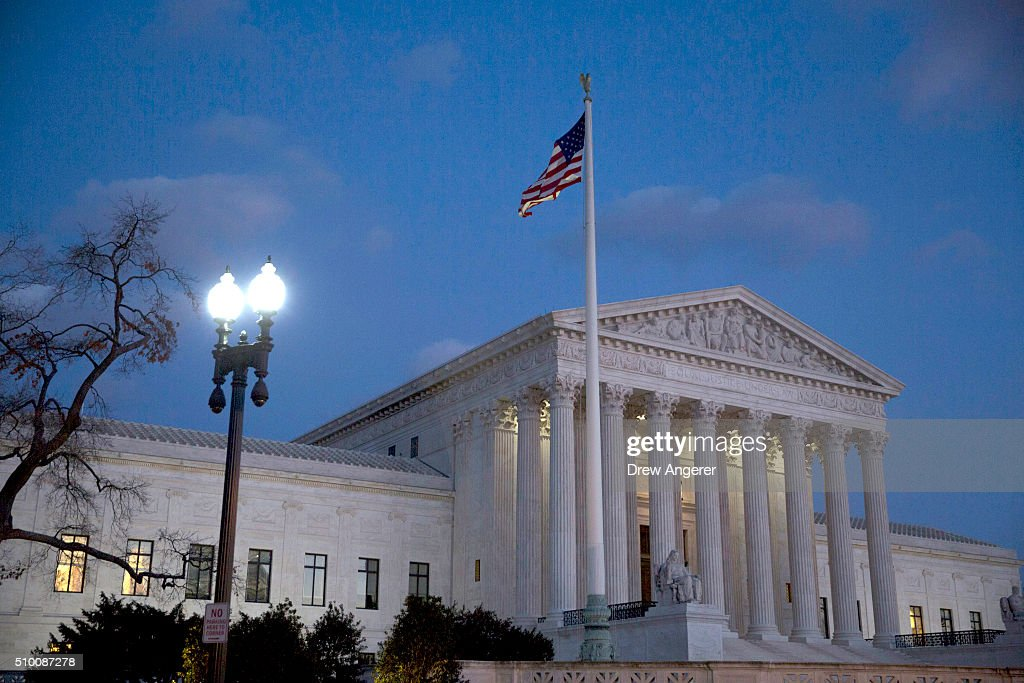 The U.S. Supreme Court is seen at dusk February 13, 2016 in Washington, DC. Supreme Court Justice Antonin Scalia was at a Texas Ranch Saturday morning when he died at the age of 79.