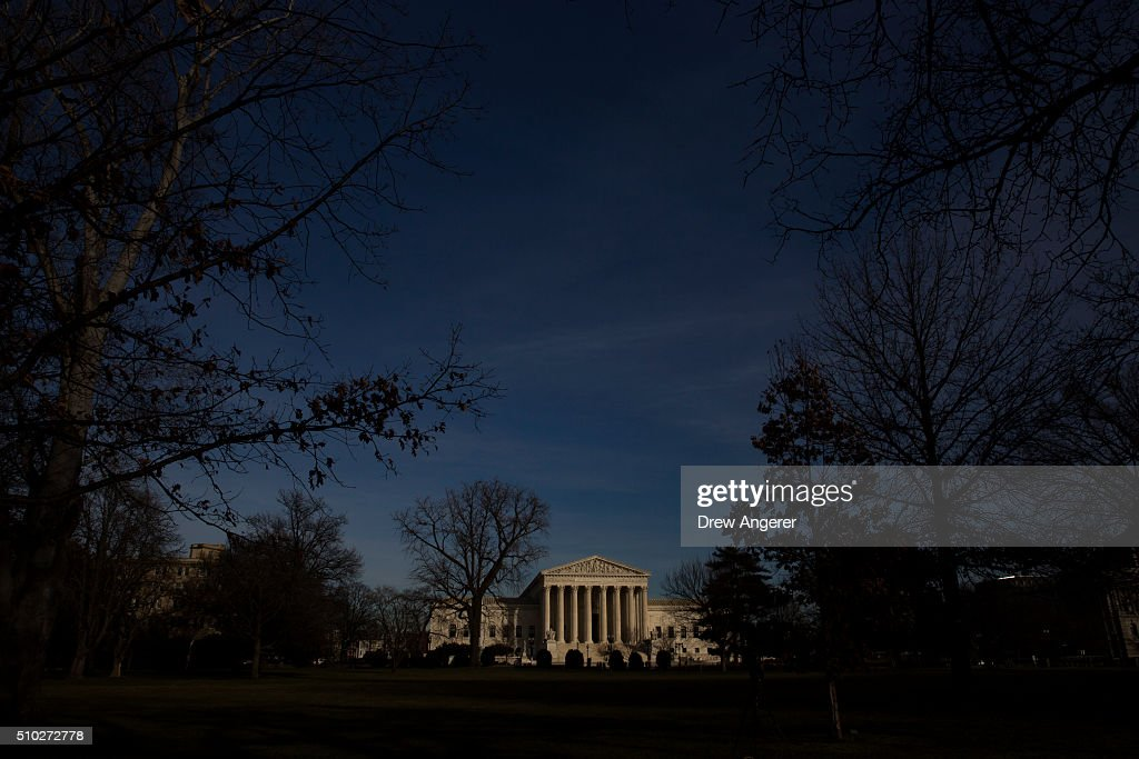 The U.S. Supreme Court is seen in the late afternoon on February 14, 2016 in Washington, DC. Supreme Court Justice Antonin Scalia was at a Texas Ranch Saturday morning when he died at the age of 79.