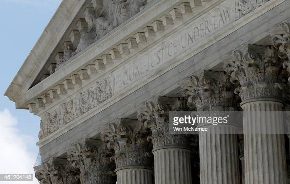 The US Supreme Court is shown after members of the court issued major rulings on cell phone privacy and copyright law June 25 2014 in Washington DC...