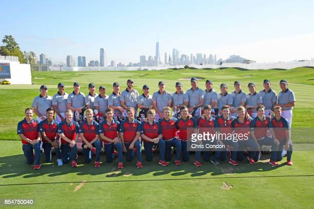 The US Team and the US Junior Presidents Cup team poses for a group photo prior to the start of the Presidents Cup at Liberty National Golf Club on...