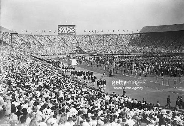 The US team marching past at the opening ceremony of the London Olympic Games at Wembley Stadium 29th July 1948