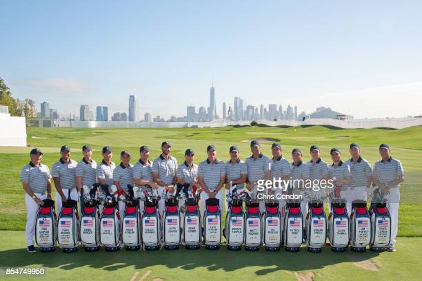 The US Team poses for a group photo prior to the start of the Presidents Cup at Liberty National Golf Club on September 27 in Jersey City New Jersey