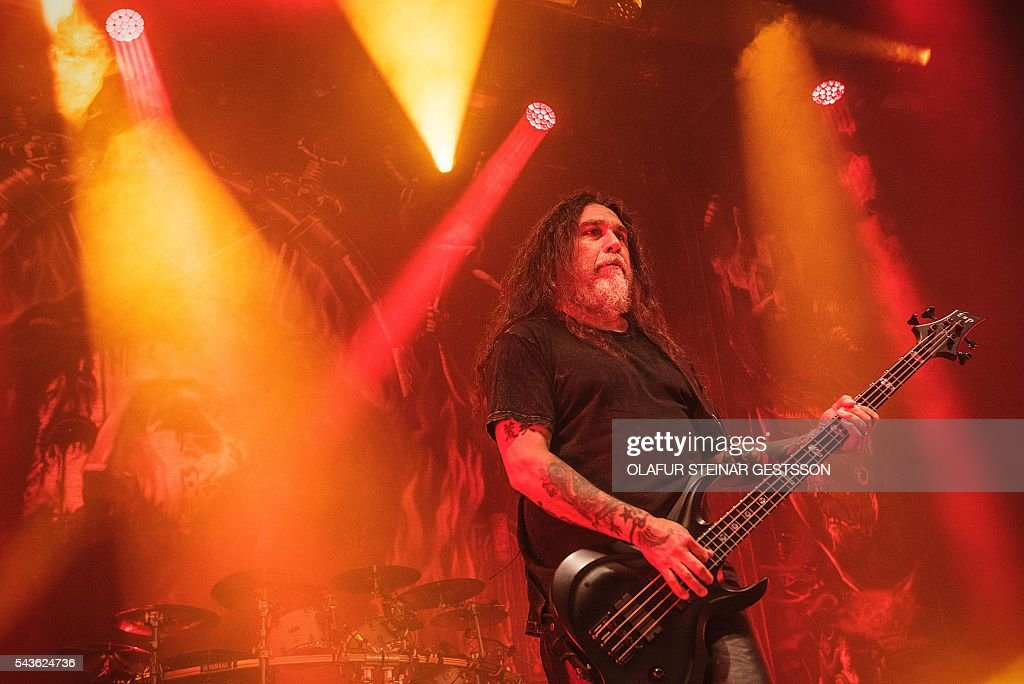 The US thrash metal band Slayer perform at the art Arena stage at the Roslilde festival on June 29, 2016. / AFP / Scanpix Denmark AND Scanpix / Ólafur Steinar Gestsson / Denmark OUT
