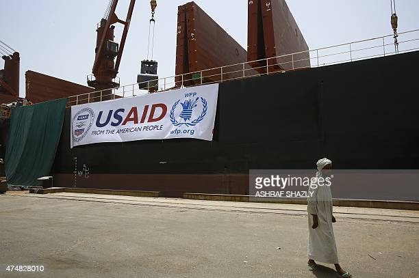 The US vessel Liberty Grace hired by the World Food Program is seen docked at Port Sudan on May 26 to deliver 47500 metric tons of sorghum from USAID...