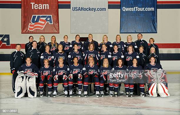 The US Women's National Hockey Team poses for a portrait on August 25 2009 at the National Sports Center in Blaine Minnesota