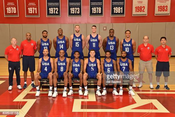 The USA AmeriCup Team poses for a team portrait during a training camp at the University of Houston in Houston Texas on August 24 2017 NOTE TO USER...