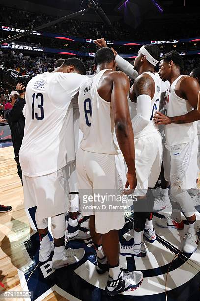 The USA Basketball Men's National Team celebrates after the game against Argentina on July 22 2016 at TMobile Arena in Las Vegas Nevada NOTE TO USER...