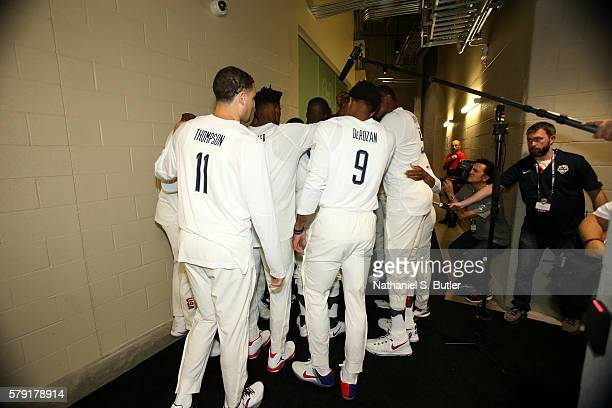 The USA Basketball Men's National Team huddles before the game against Argentina on July 22 2016 at TMobile Arena in Las Vegas Nevada NOTE TO USER...