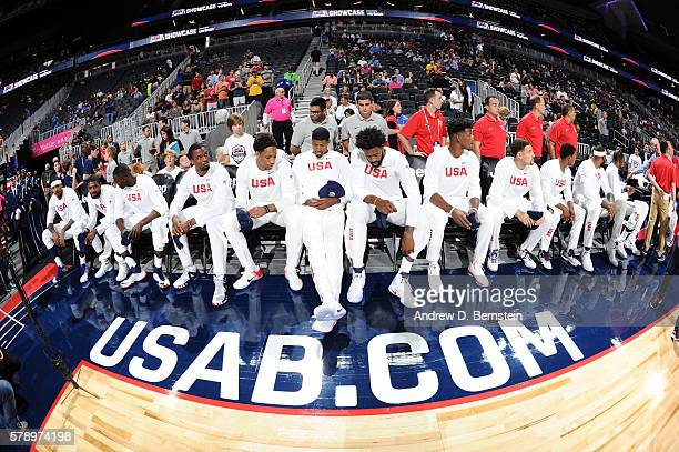 The USA Basketball Men's National Team is introduced before the game against Argentina on July 22 2016 at TMobile Arena in Las Vegas Nevada NOTE TO...