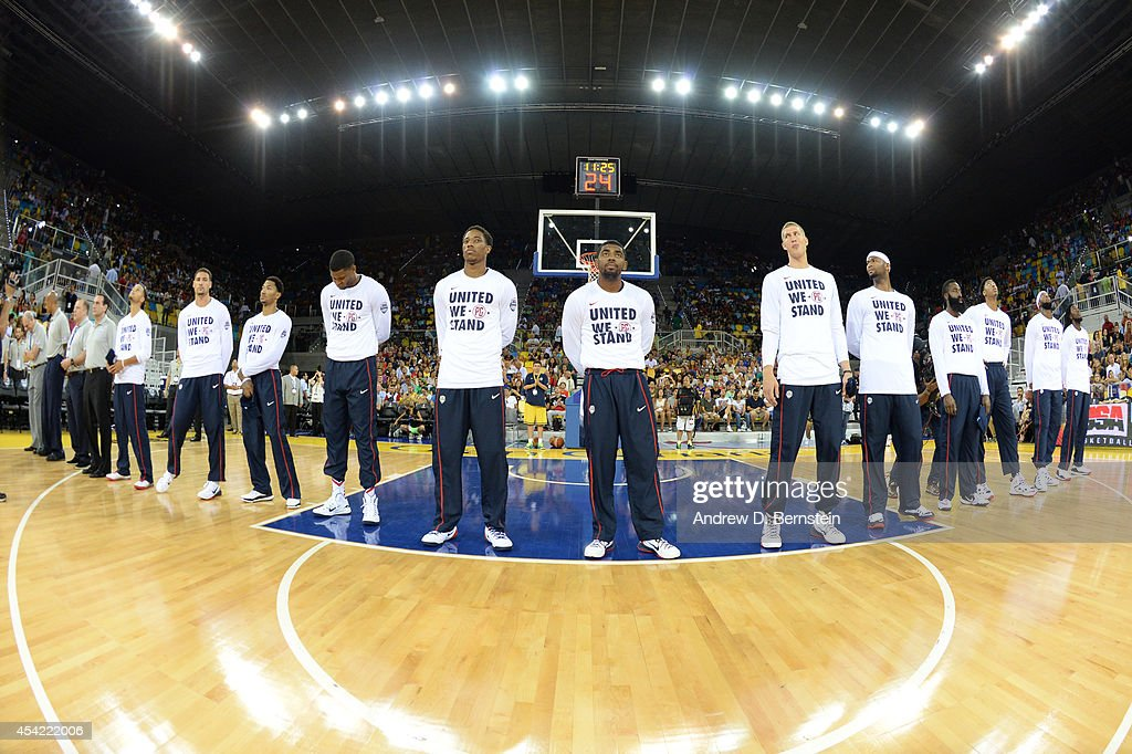 The USA Basketball Men's National Team stands for the National Anthem against the Slovenia Basketball Men's National Team at Gran Canaria Arena in Las Palmas, Gran Canaria, Spain on August 26, 2014.