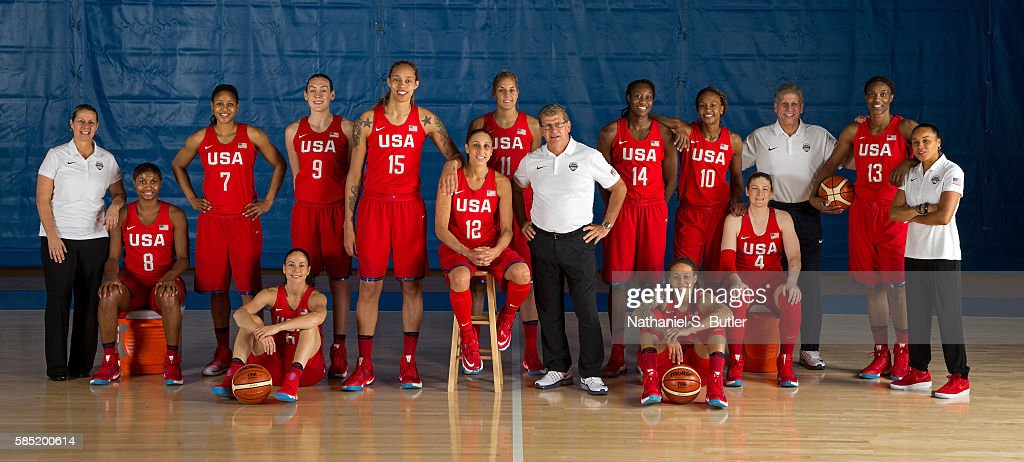 The USA Basketball Women's National Team poses for a team photo on July 30, 2016 at the Madison Square Garden Training Center in Tarrytown, New York.