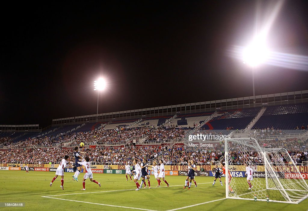 The USA battles for the ball against China at FAU Stadium on December 15, 2012 in Boca Raton, Florida. The USA defeated China 4-1.