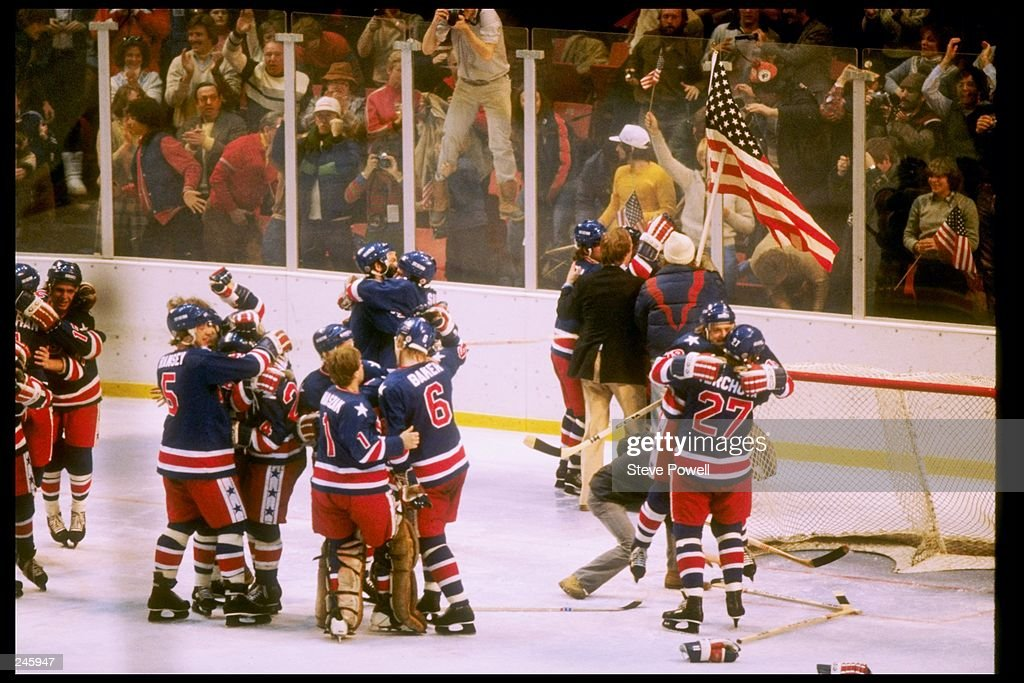 The USA hockey team celebrates winning the gold medal after defeating Finland 4-2 in the gold medal match during the 1980 Winter Olympic Games on February 24, 1980 in Lake Placid, New York.