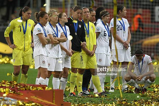 The USA looks dejected on the podium after losing 35 after penalty shootout the FIFA Women's World Cup Final match between Japan and USA at the FIFA...