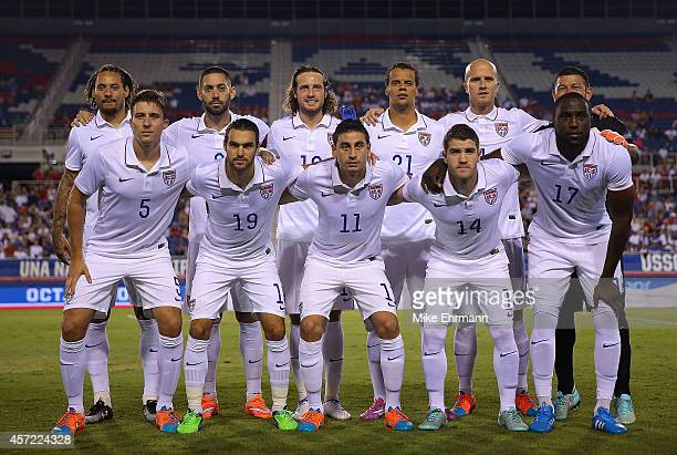 The USA national tem lines up during a game against Honduras at FAU Stadium on October 14 2014 in Boca Raton Florida