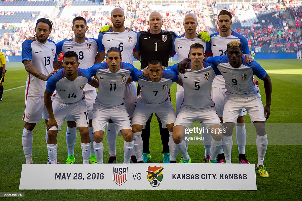 The USA soccer team poses for a group photo before taking on Bolivia in the COPA America Centenario USA 2016 on May 28, 2016 at Children's Mercy Park in Kansas City, Kansas.