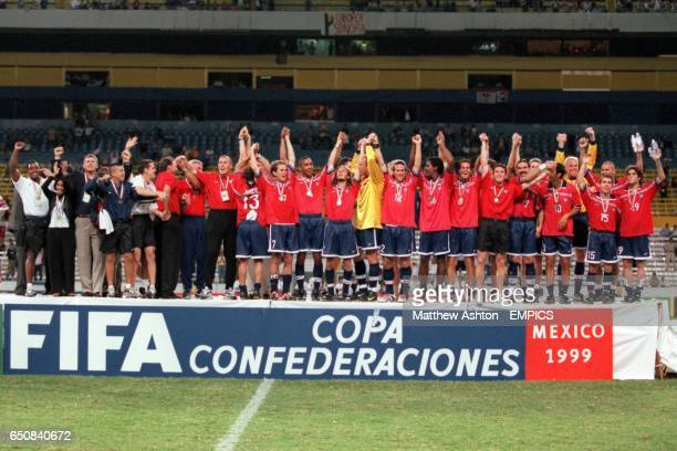 The USA team celebrate finishing third in the FIFA Confederations Cup