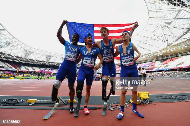 The USA team celebrate winning gold in the Mens 4 x 100m T4247 relay before being disqualified during day ten of the IPC World ParaAthletics...