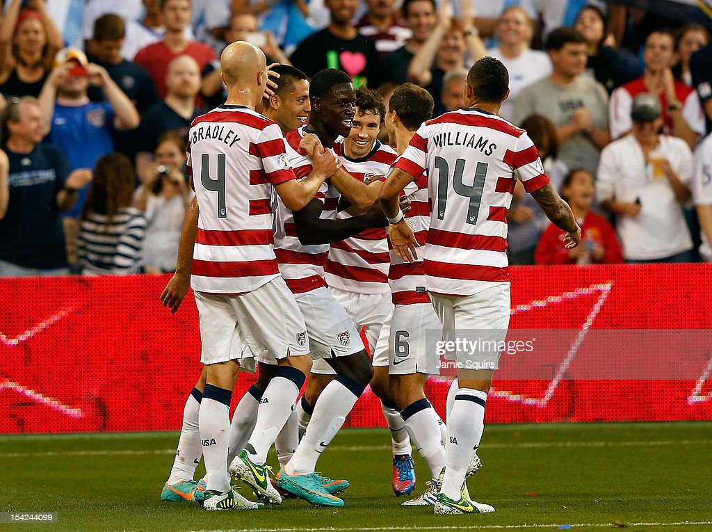 The USA team celebrates after a goal during the World Cup Qualifying match against Guatemala at LiveStrong Sporting Park on October 16, 2012 in Kansas City, Kansas.