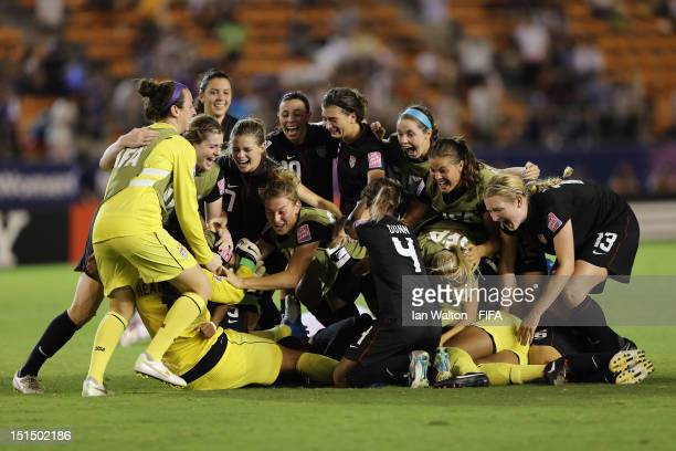 The USA team celebrates winning the FIFA U20 Women's World Cup Final match between USA and Germany at the National Stadium on September 8 2012 in...