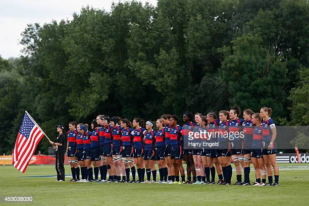 The USA team line up ahead of the IRB Women's Rugby World Cup Pool B match between the USA and Ireland at the French Rugby Federation headquarters on...
