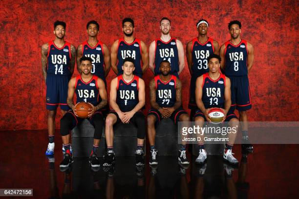 The USA Team poses for a photo before the BBVA Compass Rising Stars Challenge as part of 2017 AllStar Weekend at the Smoothie King Center on February...