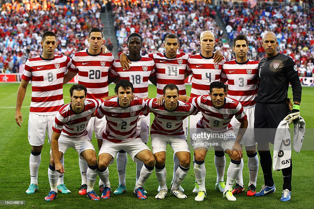The USA team starting lineup poses for a photo prior to the World Cup Qualifying match against Guatemala at LiveStrong Sporting Park on October 16, 2012 in Kansas City, Kansas.
