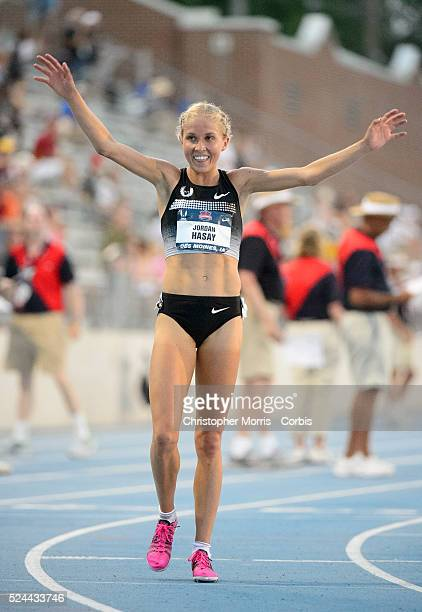 The USA track field championships in Des Moines IowaDay1 Jordan Hasay celebrates her second place finish in the women's 10000 meter race