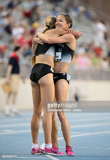 The USA track field championships in Des Moines IowaDay1 Tara Erdmann hugs Jordan Hasay at the finish of the women's 10000 meter race