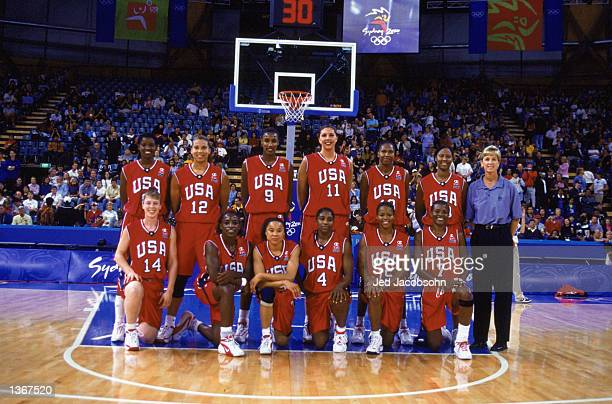 The USA Women Basketball team poses for a group photo before the Womens Basketball game against Korea during the Sydney 2000 Olympic Games at the...