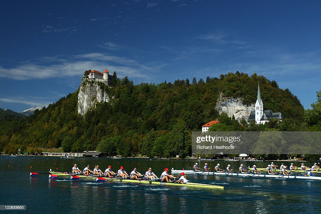 The USA Women's Eight compeate in the heats during day one of the FISA Rowing World Championships at Lake Bled on August 29, 2011 in Bled, Slovenia.