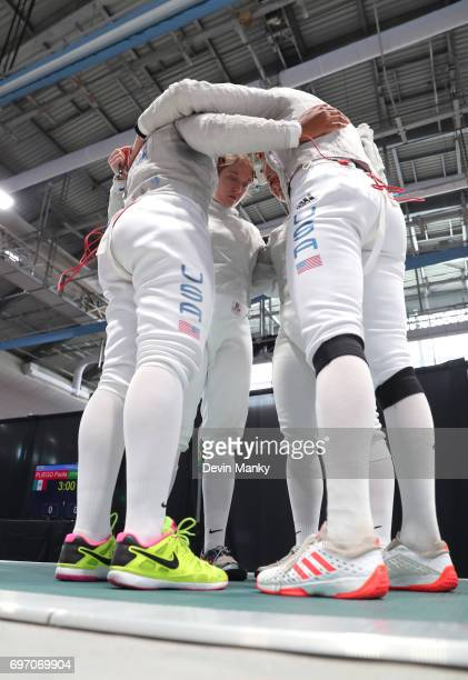 The USA Women's Sabre team prepare to fence in the gold medal match during the Team Women's Sabre event on June 17 2017 at the PanAmerican Fencing...
