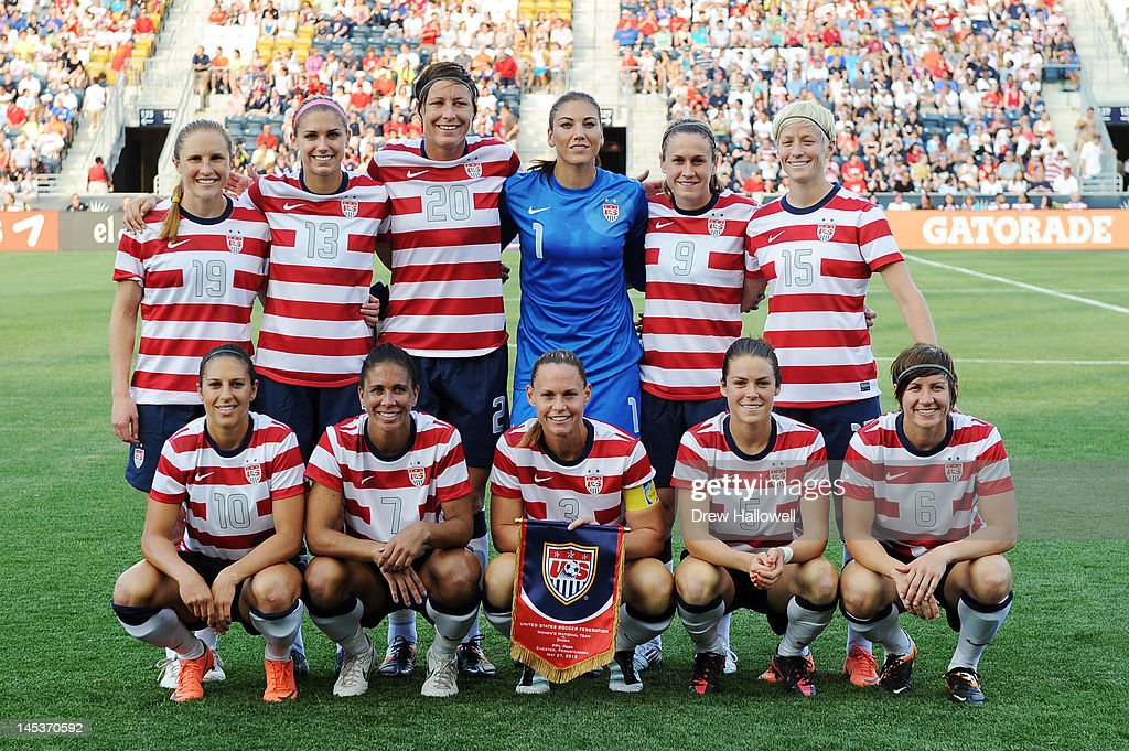 The USA women's starting eleven pose for a pre game photograph before the playing against China at PPL Park on May 27, 2012 in Chester, Pennsylvania.