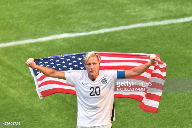 The USA's Abby Wambach celebrates after defeating Japan in the 2015 FIFA Women's World Cup final at BC Place Stadium in Vancouver British Columbia on...