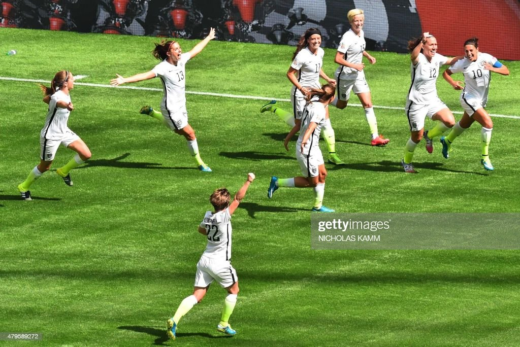 The USA's Carli Lloyd celebrates a goal against Japan with teammates during the 2015 FIFA Women's World Cup final between the USA and Japan at BC...