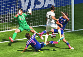 The USA's Carli Lloyd scores a goal against Japan during the 2015 FIFA Women's World Cup final between the USA and Japan at BC Place Stadium in...