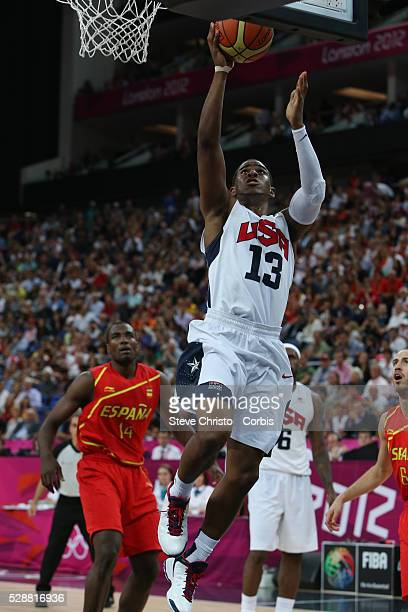 The USA's Chris Paul in action during the Men's Basketball Final between USA and Spain at the North Greenwich Arena during the London 2012 Olympic...